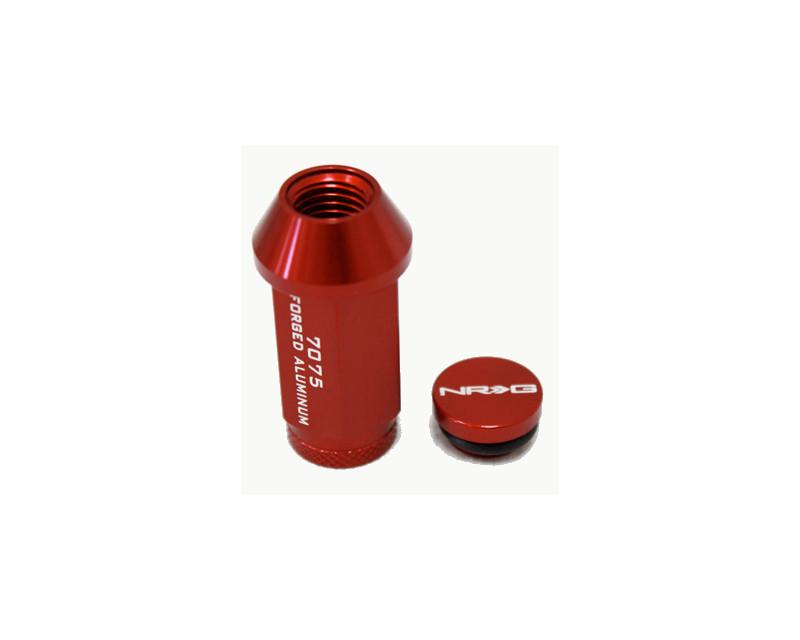 NRG LN-700RD-17 Red with NRG LN-700RD-17 Cap 17 Piece M12 x 1.5 Lug Nut Kit Universal