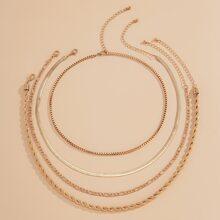 4pcs Simple Chain Necklace