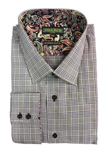 Men's Cotton Jacquard with Contrast Trimming Light Gray Shirt