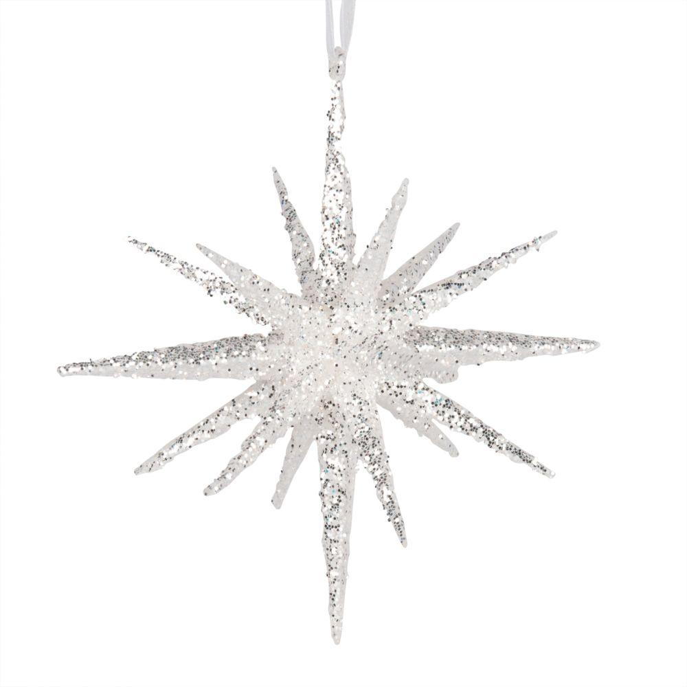 Weihnachtliche Haengedeko, Stern mit silberfarbenen Glitzer