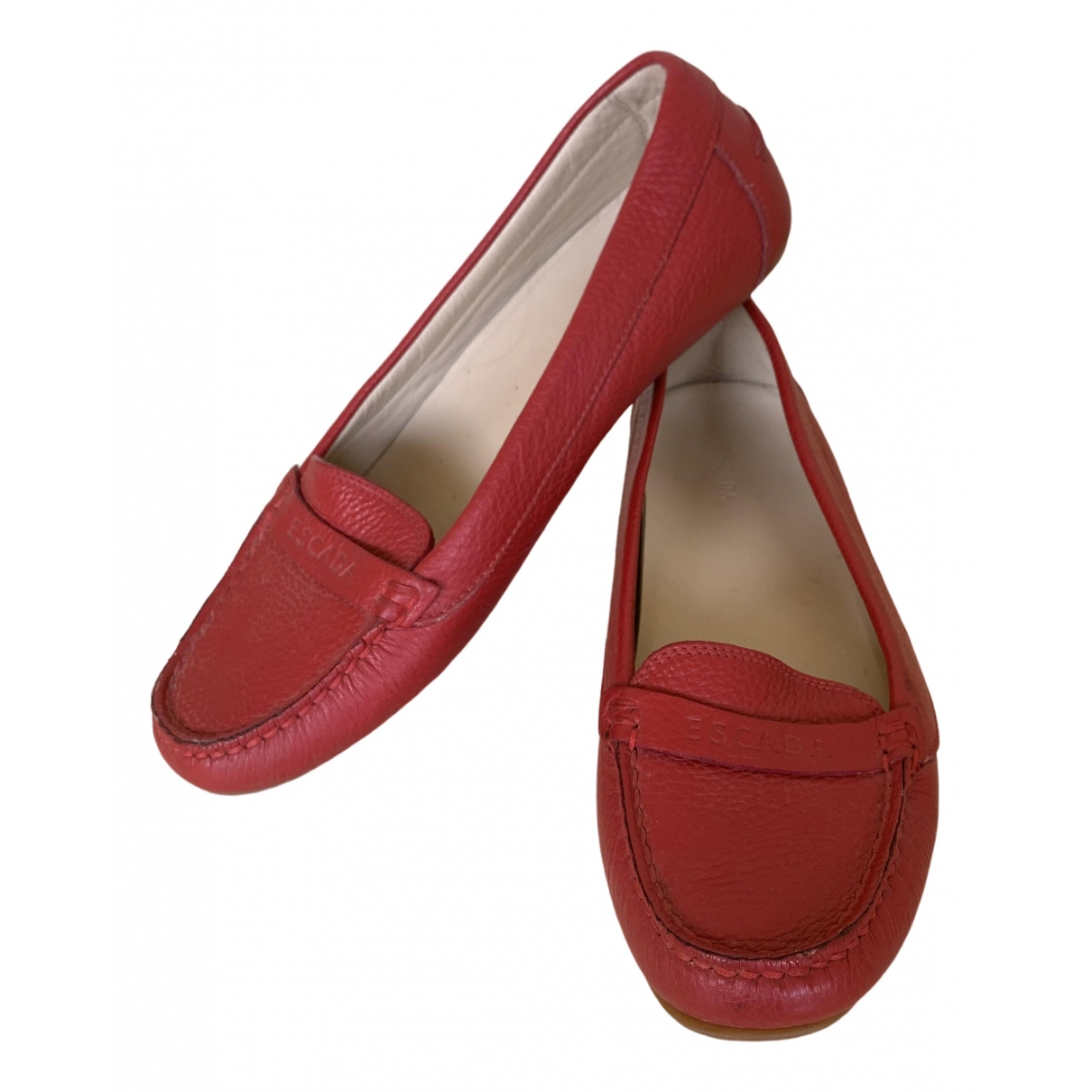 Escada \N Red Leather Flats for Women 39 EU