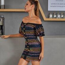 DKRX schulterfreies Kleid mit Knopfen vorn und Pailletten