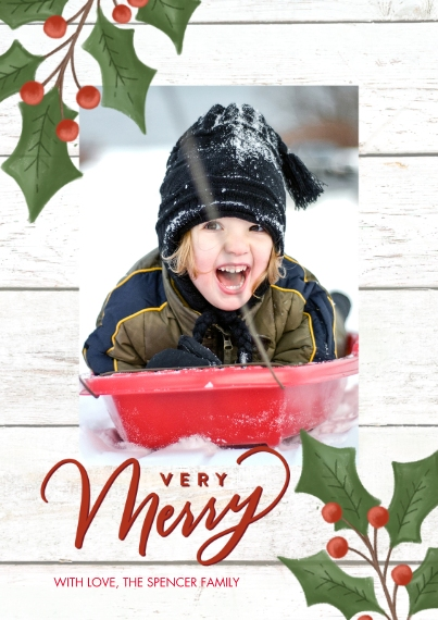 Christmas Photo Cards 5x7 Cards, Standard Cardstock 85lb, Card & Stationery -Christmas Holly by Tumbalina
