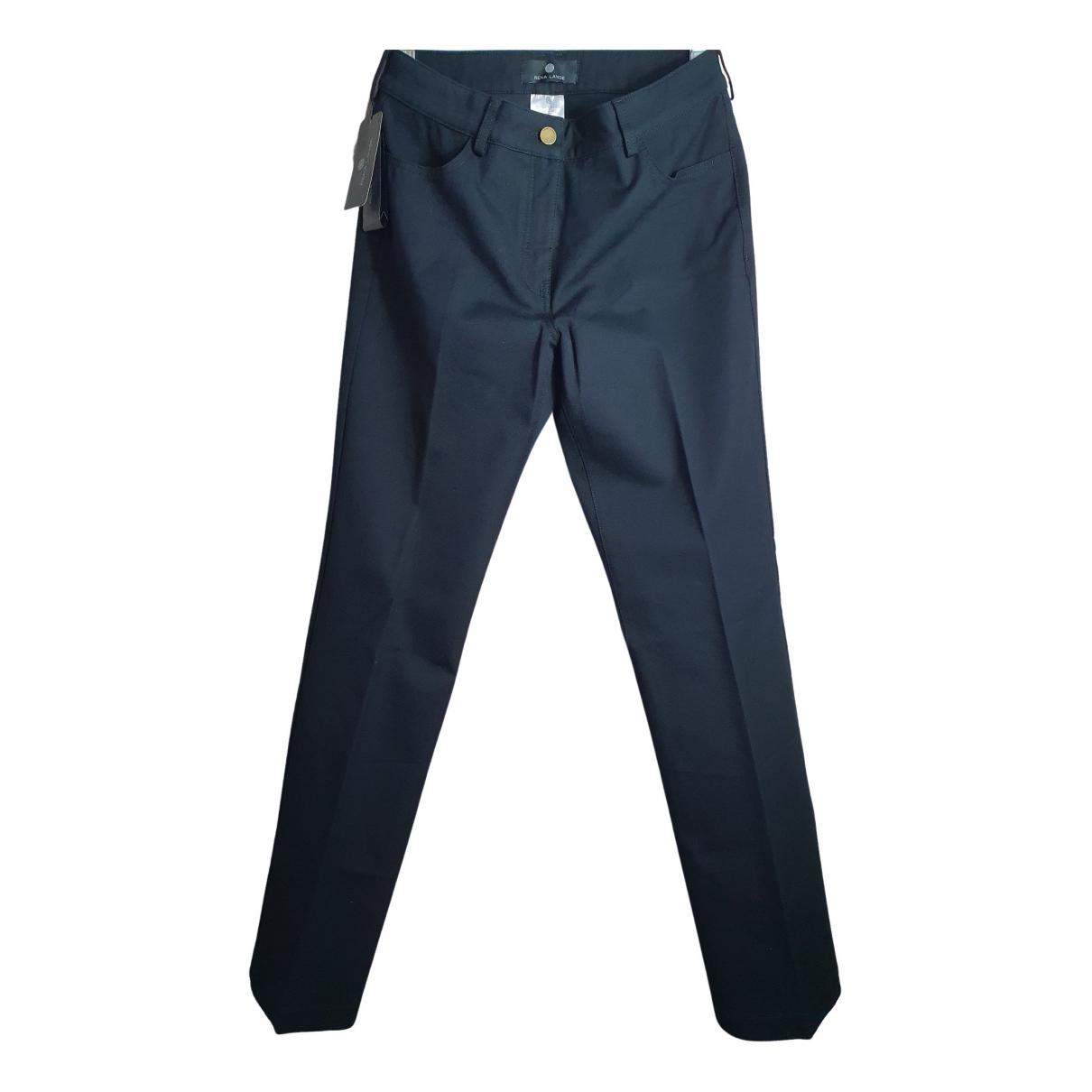 Rena Lange \N Black Cotton Trousers for Women 46 IT