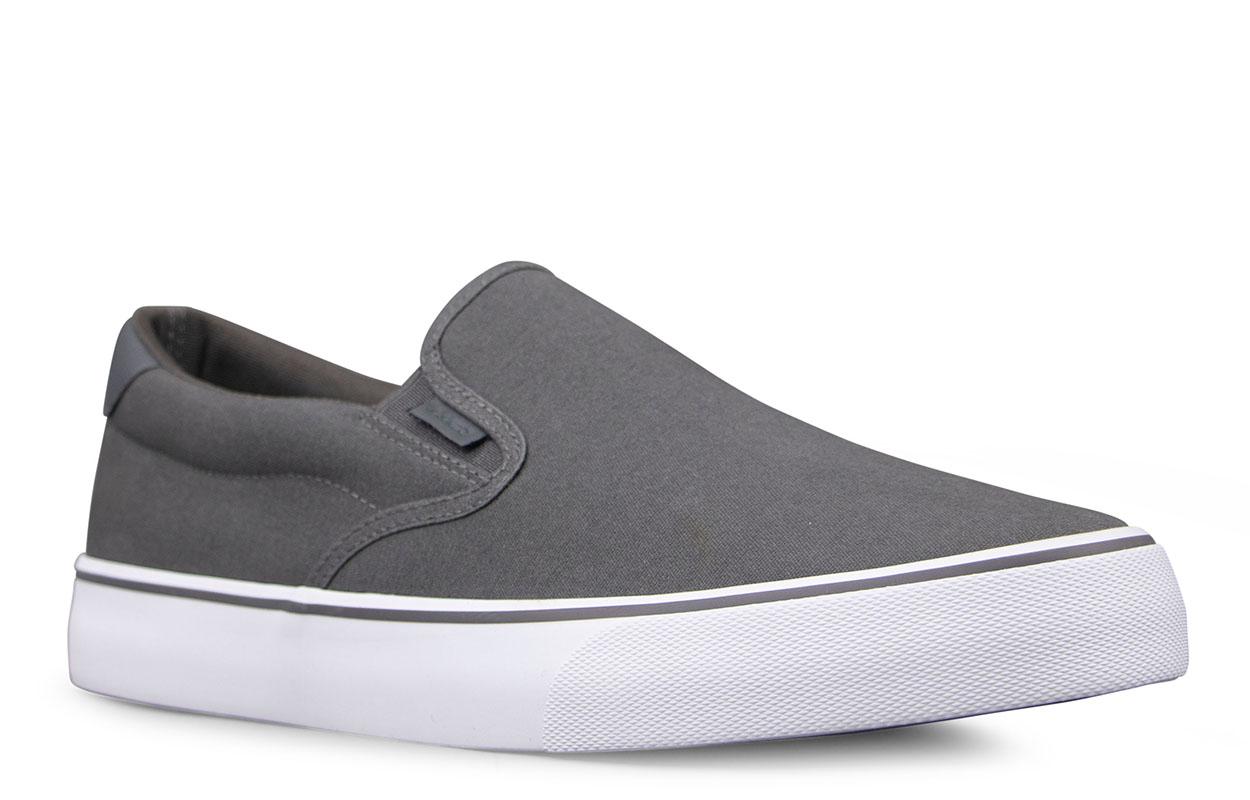 Men's Clipper Slip-On Sneaker (Choose Your Color: DK GREY/WHITE, Choose Your Size: 11.0)