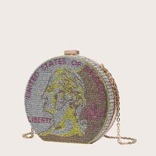 Bolsa clutch en forma de caja con diamante de imitacion