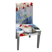 Christmas Cat Print Stretchy Chair Cover