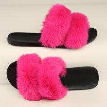 Plush Faux Fur Dual Vamp Slip-On Sandals