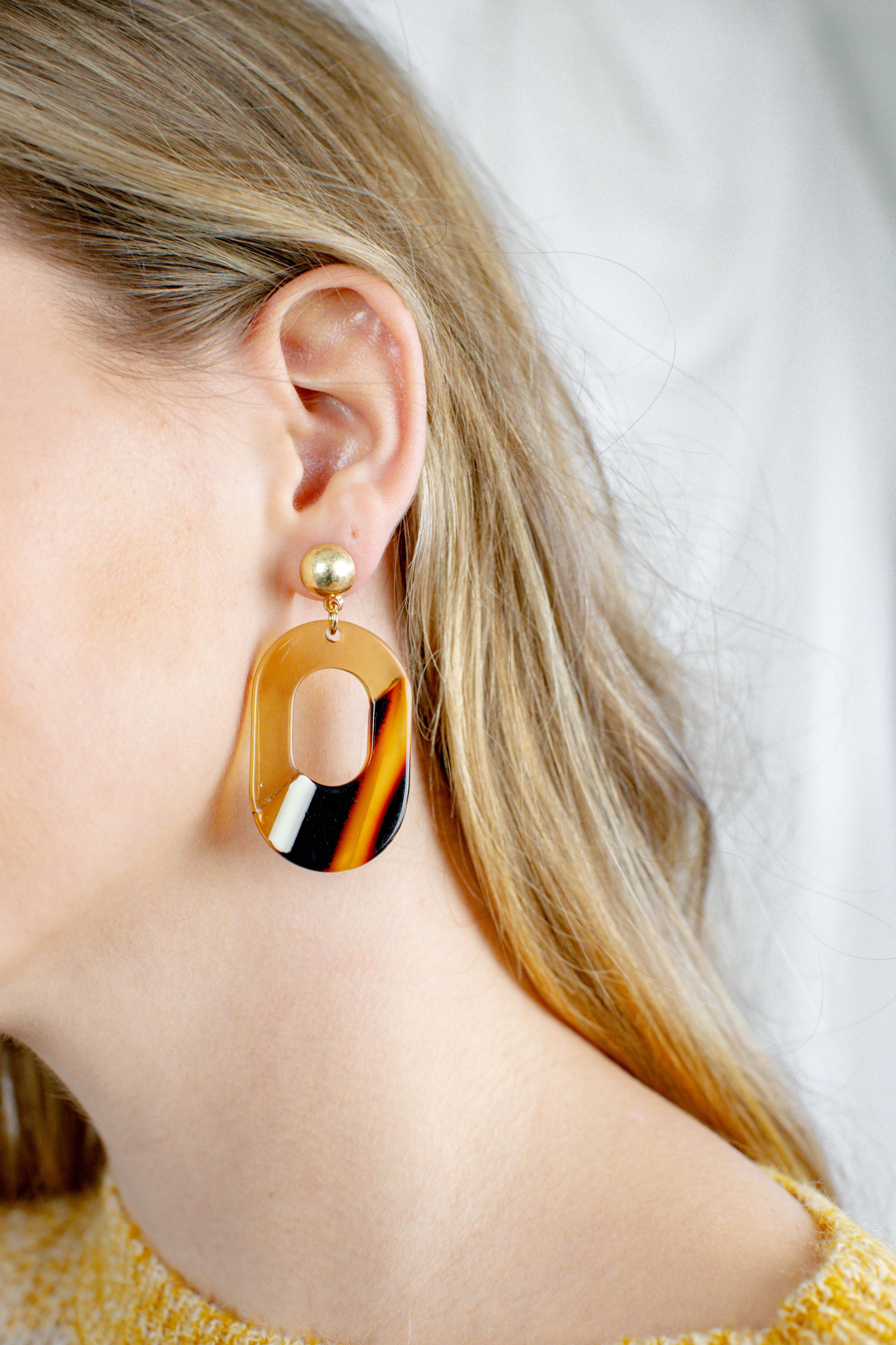 Oval Acetate Earrings Brown Multi