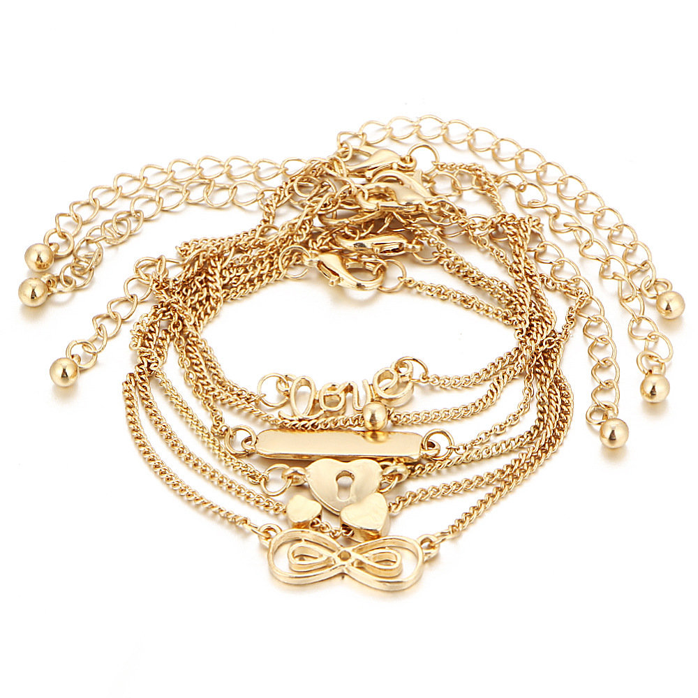6 Pcs Anklets Set Love Heart Infinity Knot Simple Gold Chain Bracelet Anklet Women Gifts