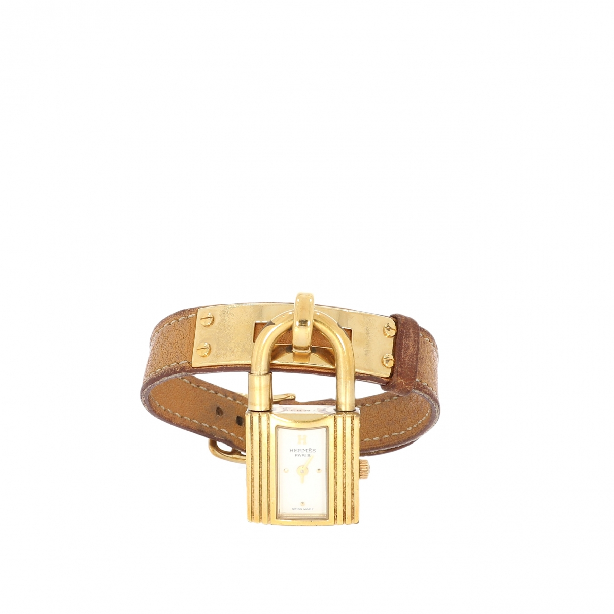 Hermes Kelly Uhr in  Beige Metall