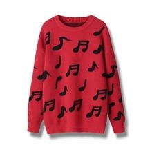 Pullover mit sehr tief angesetzter Schulterpartie und Musiknote Muster