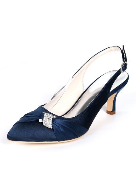 Milanoo Zapatos de novia de saten 6cm Zapatos de Fiesta Zapatos Azul marino oscuro de puntera puntiaguada Zapatos de boda con pedreria