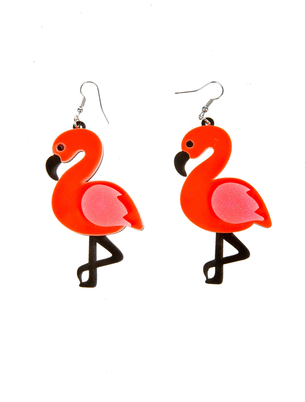 Kostuemzubehor Ohrringe Flamingo Farbe: pink