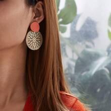 Zweifarbig aushohlen runde Ohrringe 1 Paar