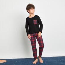 Schlafanzug Set mit Karo Muster und Taschen