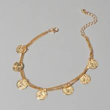 Coin Charm Layered Anklet