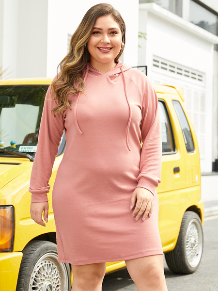 YOINS Plus Size Pink Pullover Long Sleeves Dress