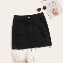 Plus Ripped Button Fly Straight Denim Skirt