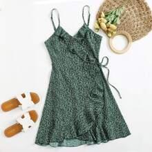 Kleid mit Rueschen, Wickel Design, seitlichem Band und Pflanzen Muster