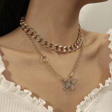 2 Stuecke Halskette mit Schmetterling Detail