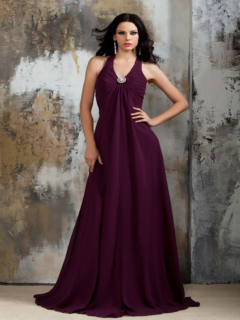 Ericdress Halter Chiffon Long Bridesmaid Dress