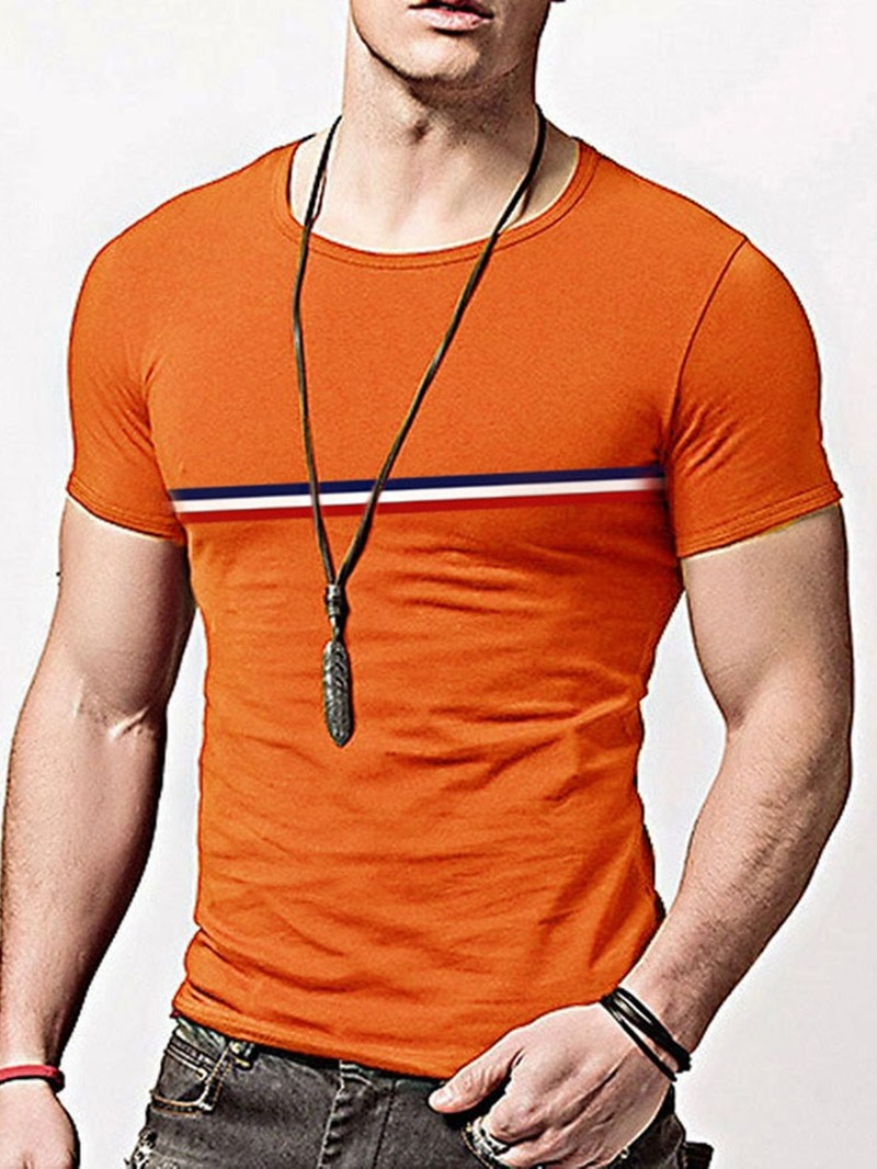 Ericdress Stripe Round Neck Short Sleeve Pullover T-shirt