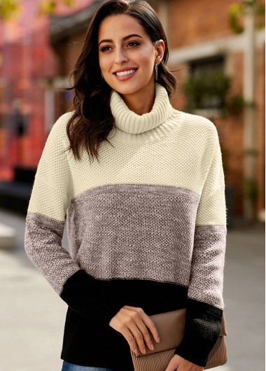 Trendy Contrast Long Sleeve Turtleneck Pullover Sweater - S