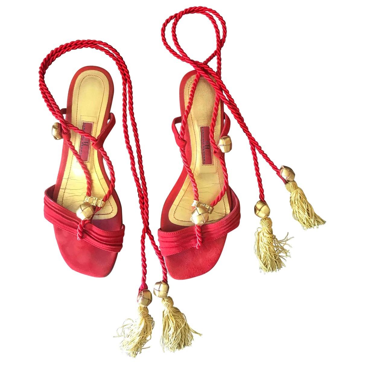 Carolina Herrera \N Red Leather Sandals for Women 38 EU