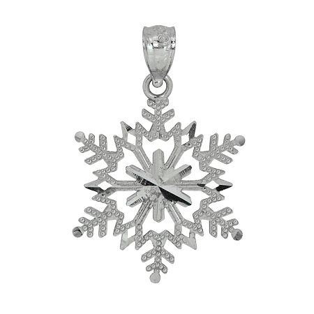 Womens 14K White Gold Snowflake Pendant, One Size , No Color Family