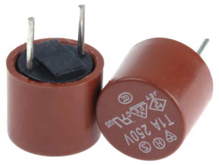 RS PRO 1A Radial T Leaded PCB Mount Fuse, 250V ac (10)