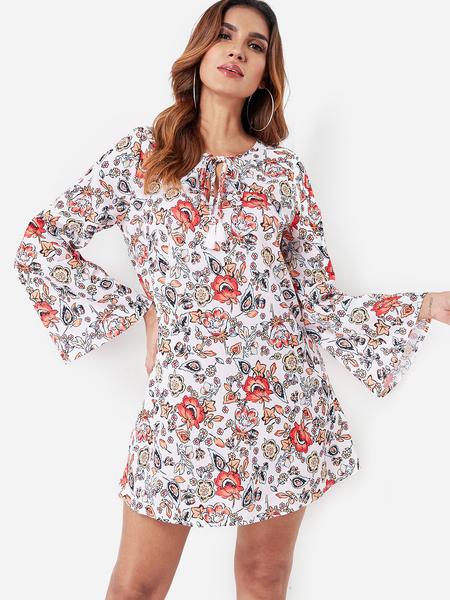 Yoins Red Calico Floral Print V Neck Lace-up Mini Dress