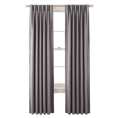 Liz Claiborne Kathryn Room-Darkening Pinch-Pleat/Back-Tab Curtain Panel, One Size , Gray
