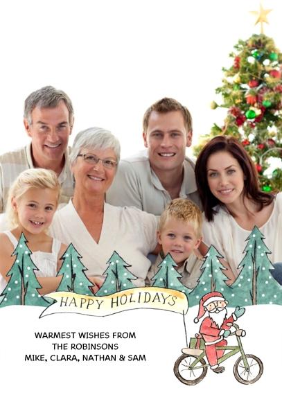 Christmas Photo Cards 5x7 Folded Cards, Standard Cardstock 85lb, Card & Stationery -Hipster Santa - Folded