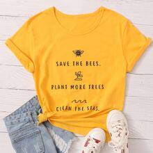 T-Shirt mit Buchstaben & Biene Muster