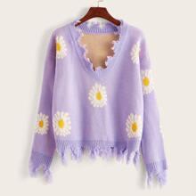 Drop Shoulder Frayed Hem Daisy Floral Sweater