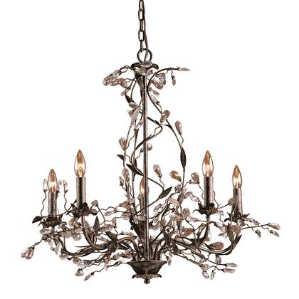 8054/5 5 Light Chandelier in Deep Rust and Crystal