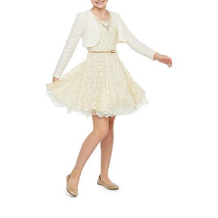 Knit Works Little & Big Girls Sleeveless Jacket Dress, 7 , White