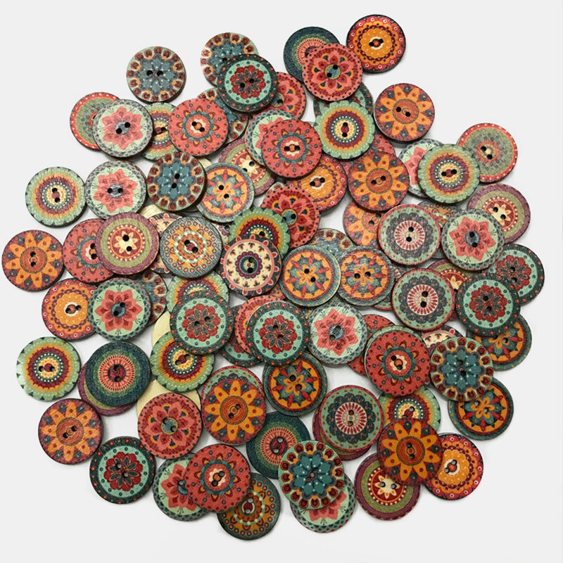 100 Pcs Classical European Style DIY Handmade Buttons Home Decoration Retro Pattern Buttons