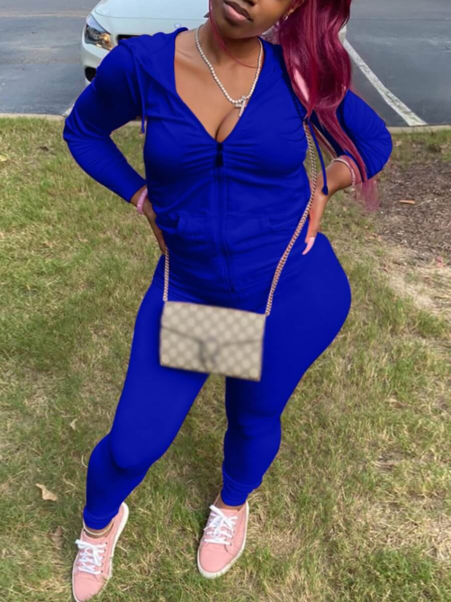 LW Lovely Casual Hooded Collar Kangaroo Pocket Blue Two Piece Pants Set