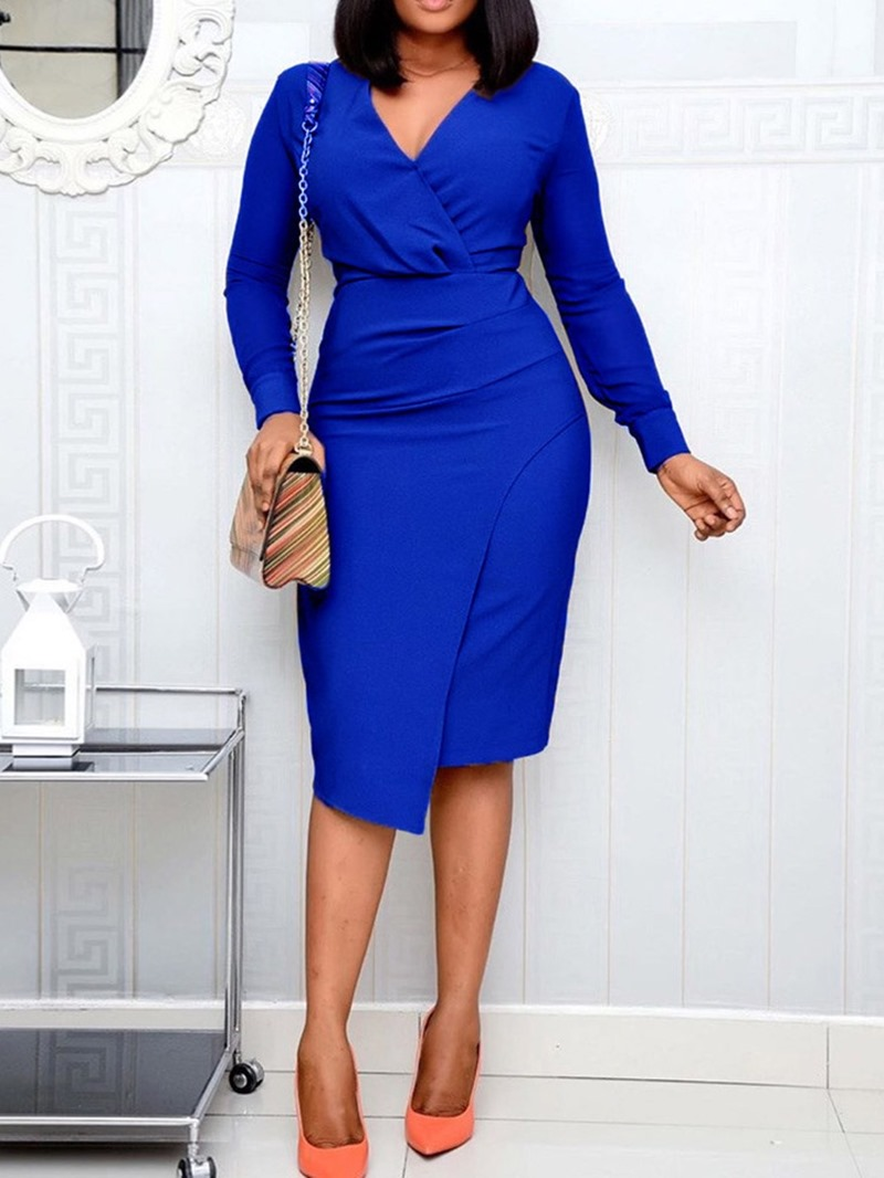 Ericdress Long Sleeve V-Neck Mid-Calf Ladylike High Waist Dress