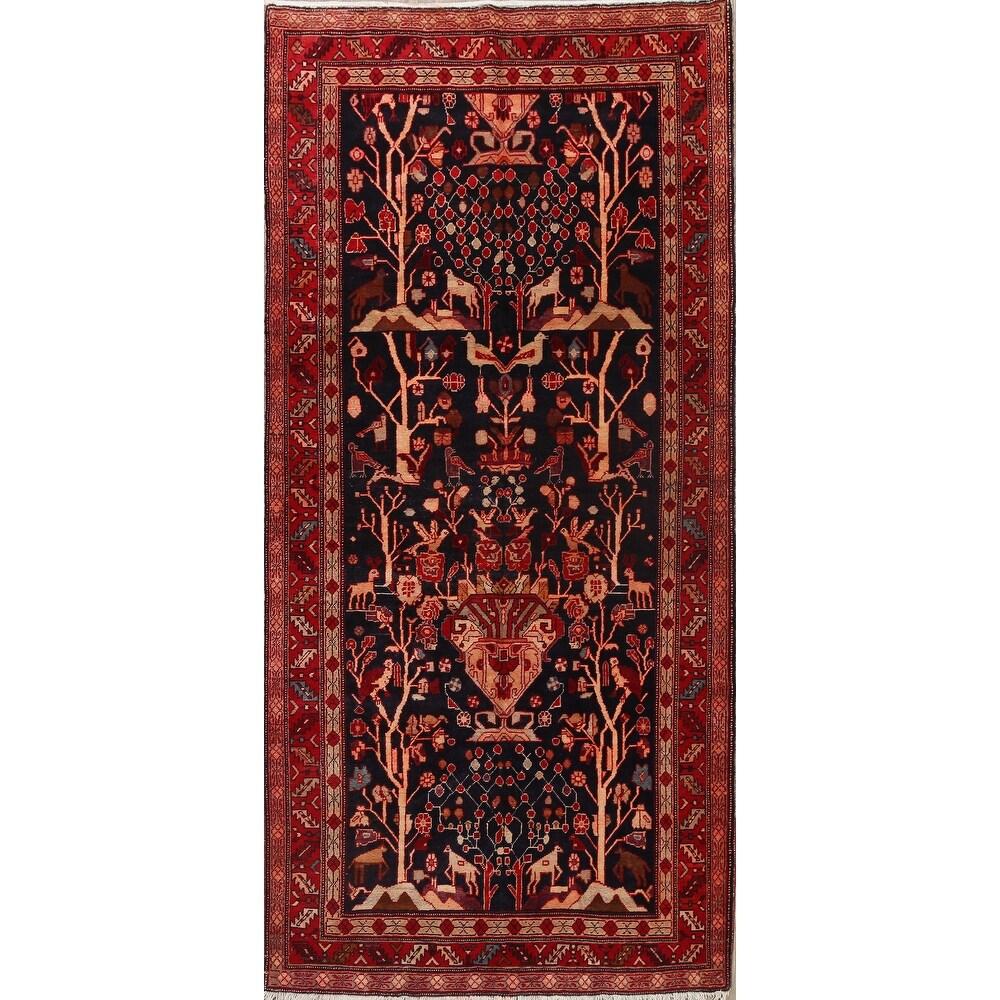 Vintage Tribal Nahavand Persian Area Rug Wool Handmade Carpet - 4'8