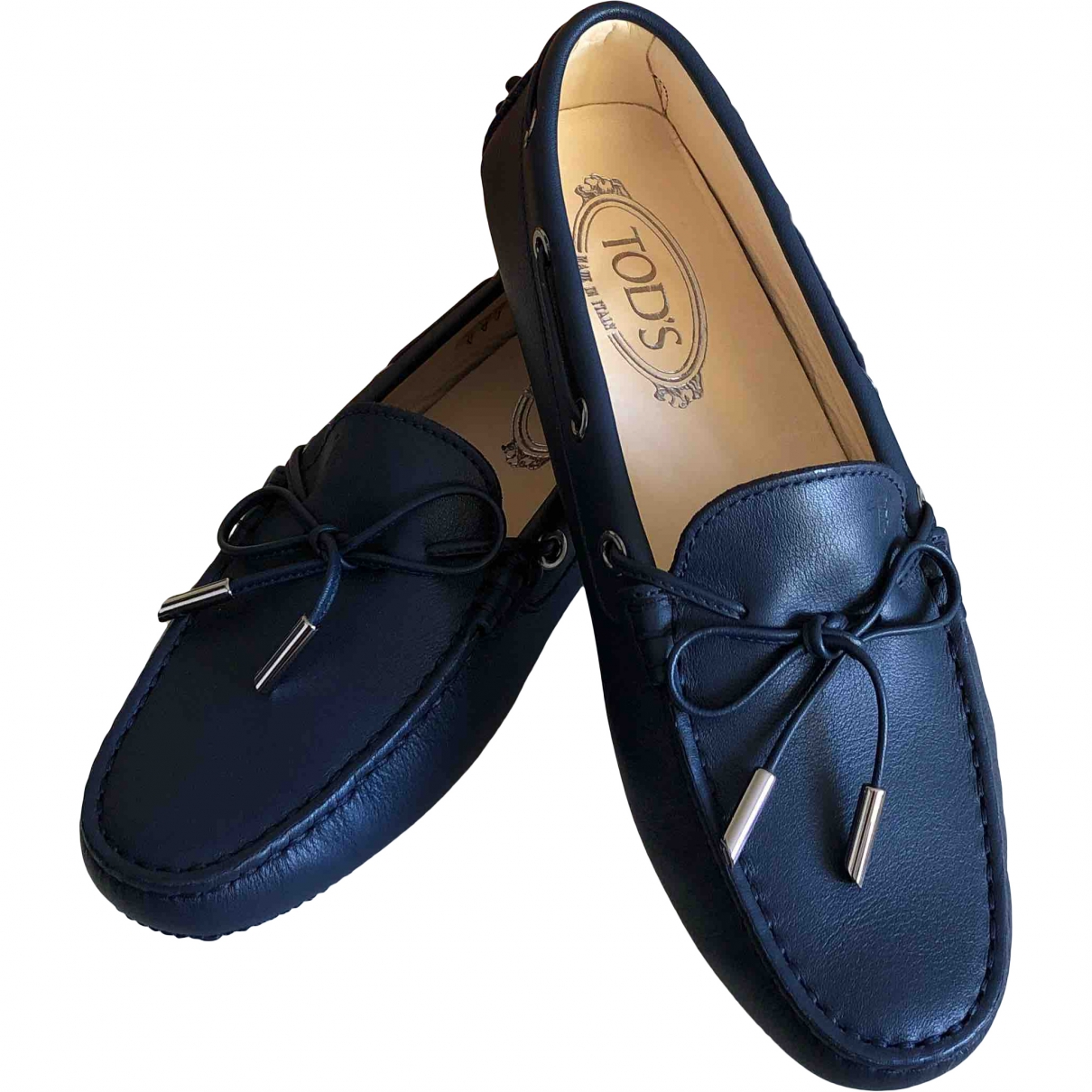 Tod's Gommino Blue Leather Flats for Women 37 EU
