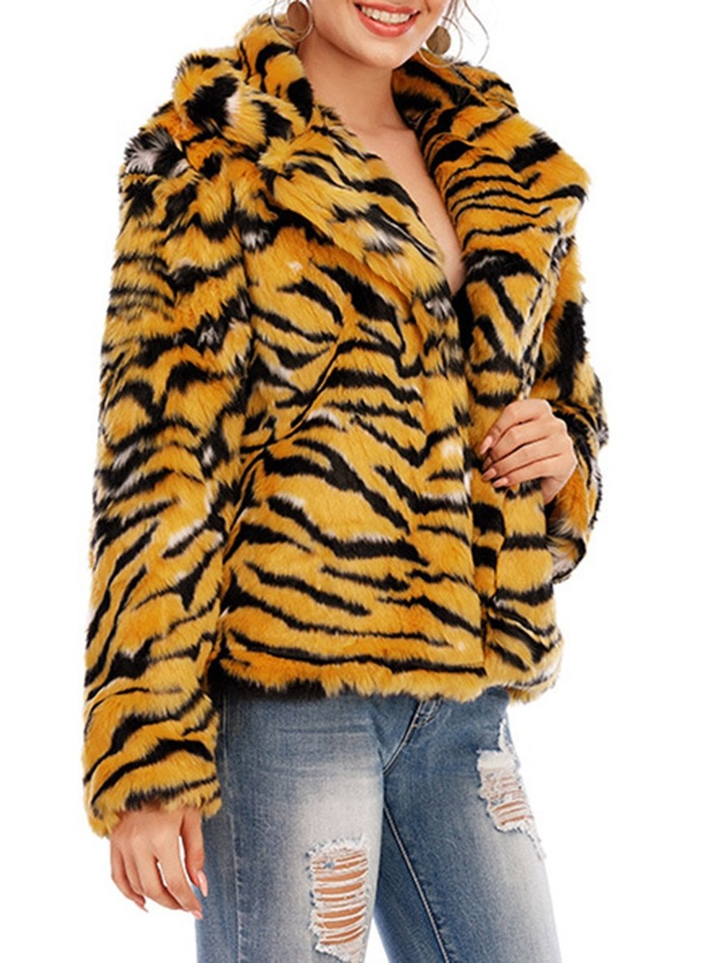 Ericdress Lapel Regular Leopard Winter Straight Faux Fur Overcoat