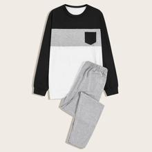 Maenner Schlafanzug Set mit Patchwork Design und Taschen