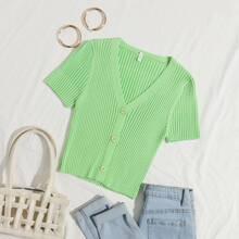 Strick Crop Jacke mit Knopfen vorn