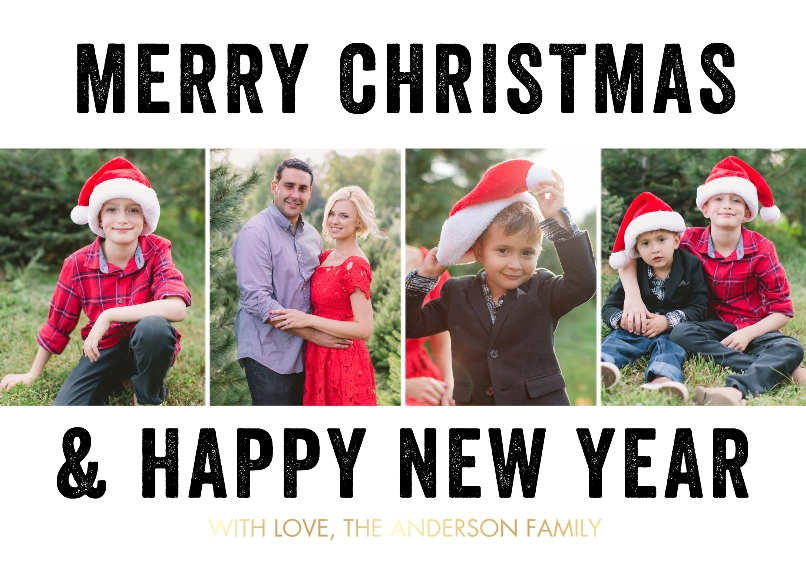 Christmas Photo Cards Set of 20, Premium 5x7 Foil Card, Card & Stationery -Christmas Foil Block Letters by Tumbalina