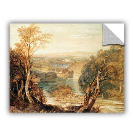 Brushstone The River Wharfe with a Distant View ofBarden Tower Removable Wall Decal, One Size , Brown