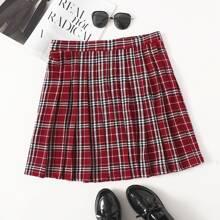 Plus Elastic Waist Plaid Pleated Skirt