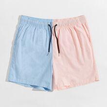 Zweifarbige Shorts it Kordelzug um die Taille
